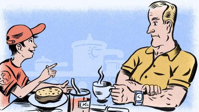 Zeichnung von Timo mit roter Dächlikappe und Paps am Frühstückstisch.