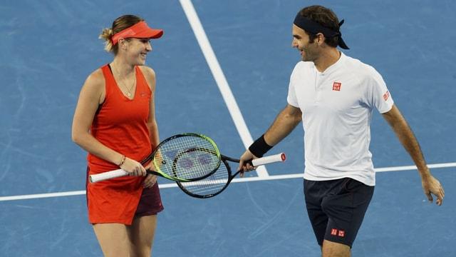 Bencic e Federer.