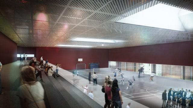 Eine grosse Turnhalle mit grauem Boden und Frauen, die Volleyball spielen.