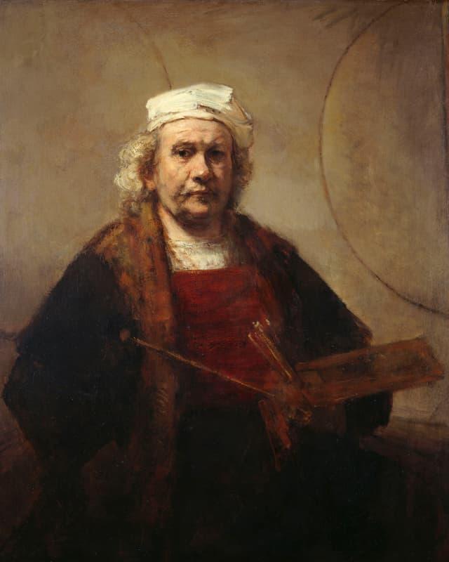 Gemälde: Selbstporträt, Rembrandt mit weisser Mütze. In der Hand hält er Pinsel und eine Palette