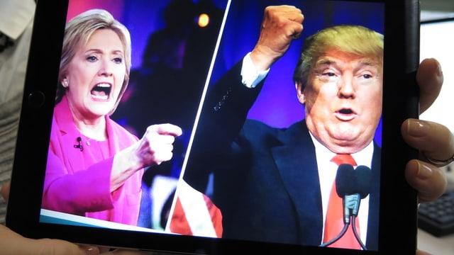 Bildmontage: Hillary Clinton und Donald Trump auf einem Bildschirm.