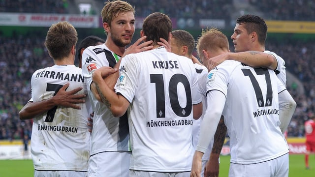 Kruse, Herrmann und Co. bejubeln einen Treffer.