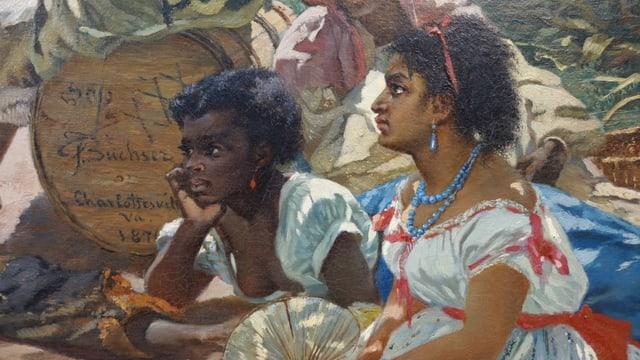 Gemaltes Porträt zweier junger schwarzer Frauen, die sitzen.