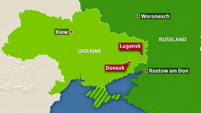Karte Ukraine mit Lugansk und Donezk eingezeichnet.