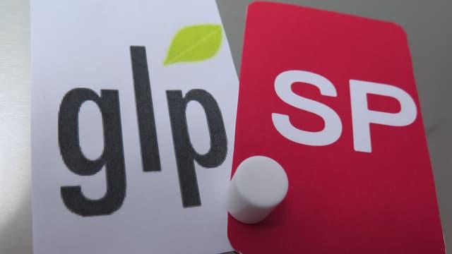Karten darauf steht GLP und SP