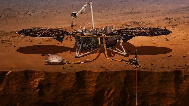 Eine Sonde auf der Planetenoberfläche, mit Bohrloch in die Tiefe.