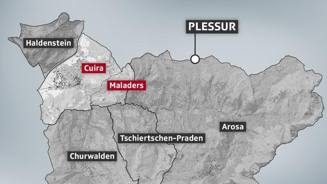 charta da las regiuns da Cuira, Maladers e contrun