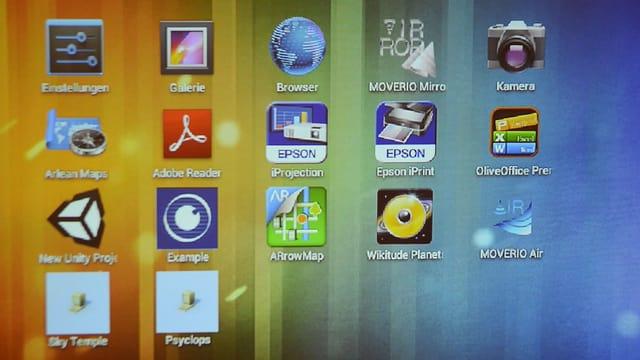 Das Bild zeigt die Desktop-Oberfläche des Moverio-Controllers. Sie sieht ein wenig aus wie jene eines Android-Smartphones.