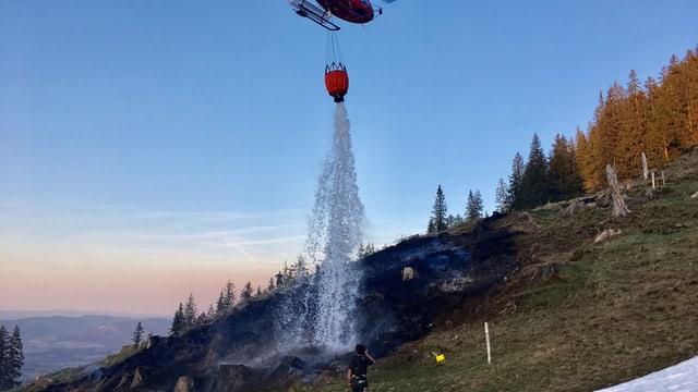 Helikopter lässt Wasser auf verbrannte Erde herunter