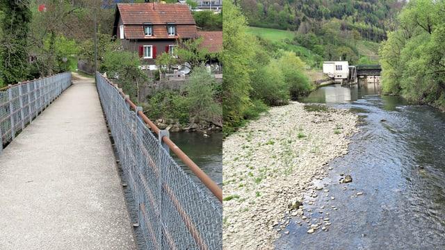 Zweiteiliges Bild: Brücke und Furt