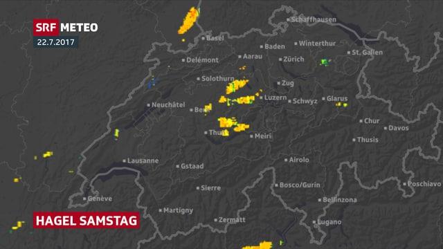 Schweizerkarte mit gelben Flächen.