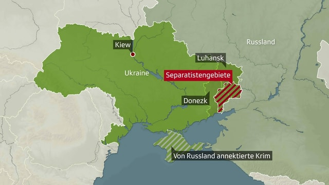Karte der Ukraine mit eingezeichneten Separatistengebieten