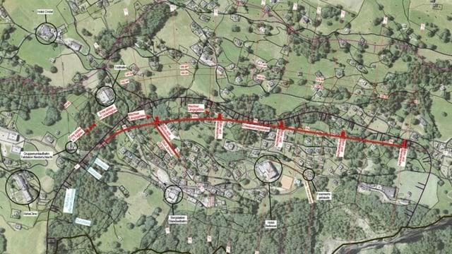 Kartenausschnitt mit Visualisierung des Entwässerungsstollen