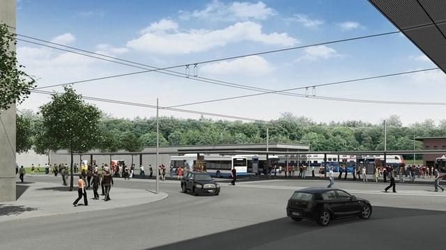 Autos, Busse und Fussgänger in einer Visualisierung des geplanten Bushubs Ebikon.