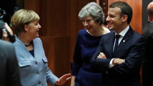 Von links nach rechts. Bundeskanzlerin Angela Merkel, die britische Premierministerin Theresa May und Frankreichs Präsident Emmanuel Macron.