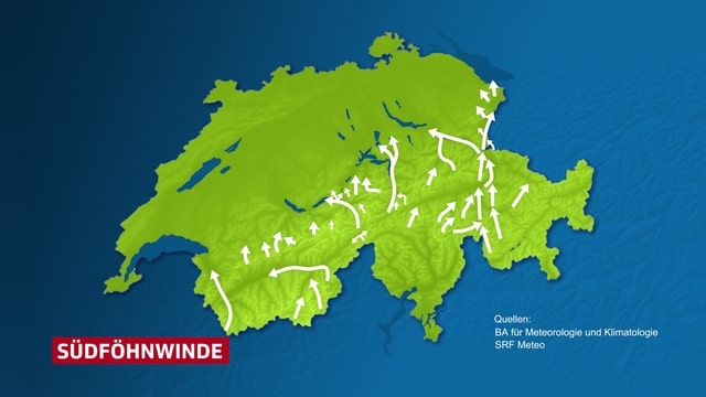 Schweizer Karte mit Südföhnwinden als Pfeile.