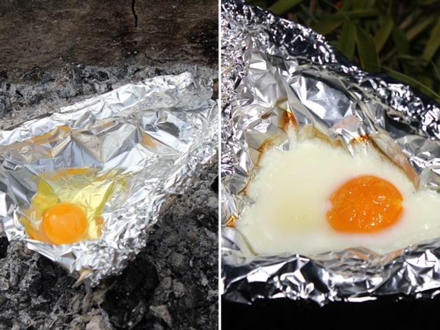 Spiegelei in der Alu-Pfanne vor und nach dem Grillieren.