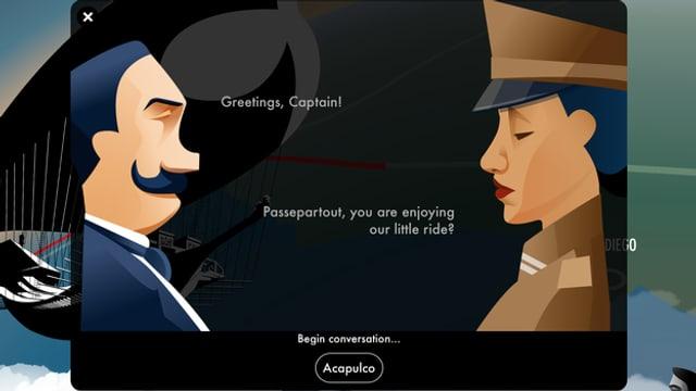 Ein Gespräch im Luftschiff nach Acapulco.