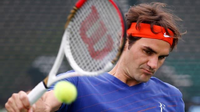 Roger Federer beim Training in Indian Wells.