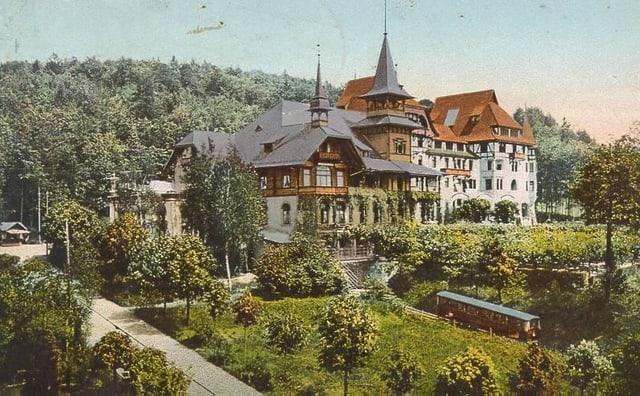 Eine Postkarte zeigt das Dolder Waldhaus 1906.