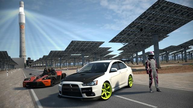 Ein KTM X-Bow und ein Evo mit stolzem Fahrer daneben vor einem Solarkraftwerk.