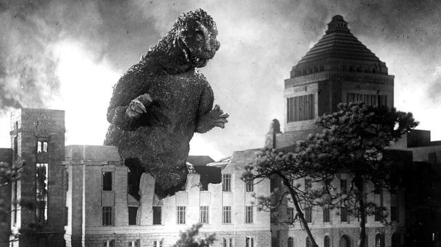 Godzilla verwüstet eine Stadt.