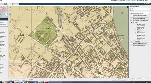 eine alte Stadtkarte von Basel