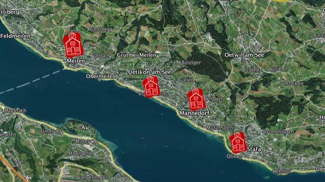 Eine Karte des Zürichsees mit roten Comic-Schulhäusern in Meilen, Uetikon, Männedorf und Stäfa.