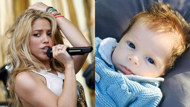 Shakira am Singen. Sohn Sahsa am Liegen.