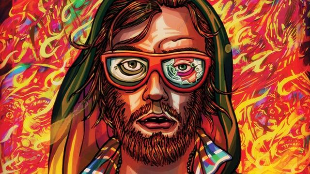 Das Comic-Bild eines bärtigen Mannes, dessen rechtes Brillenglas kaputt ist.