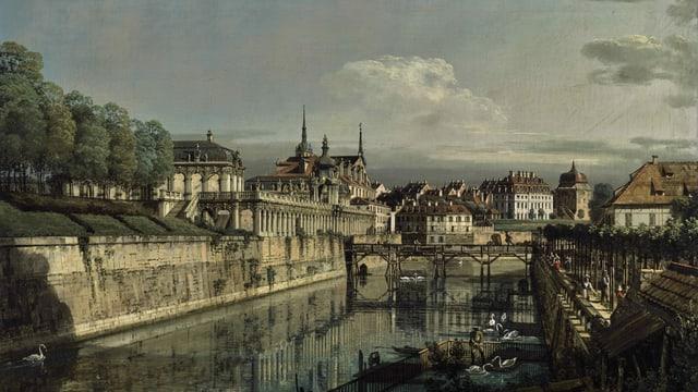 Gemälde des Zwingergrabens in Dresden