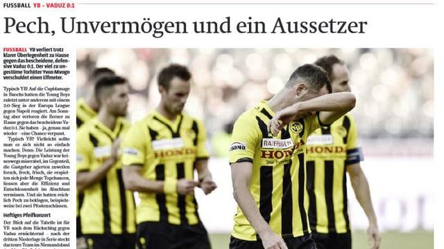 Schlagzeile aus der Berner Zeitung vom 3. November 2014.