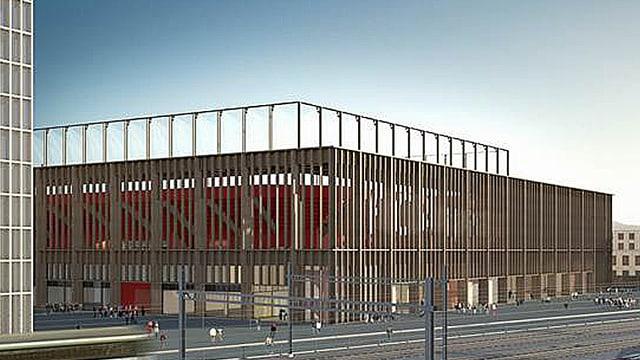 Illustration des neuen Fussballstadions in Aarau.