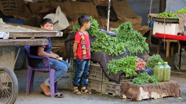 Zwei Kinder stehen vor einem Stand, darauf grünes Blattgemüse.