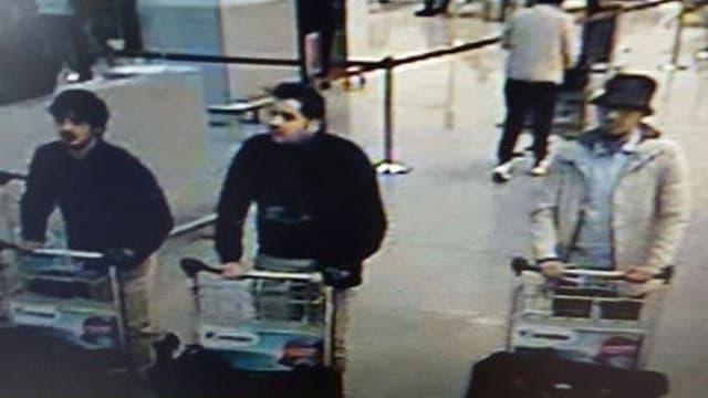 Drei Männer schieben einen Gepäckwagen vor sich hin.