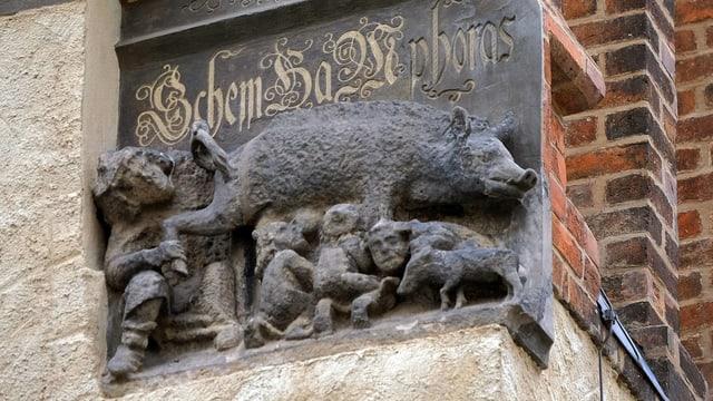 Ein Relief einer Sau an einer Kirche.