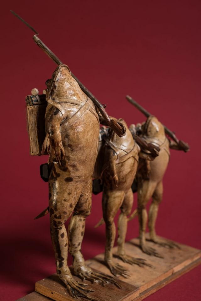Drei ausgestöpfte Frösche als Soldaten verkleidet