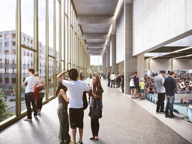 Visualisierung einer Sporthalle mit Menschen, die auf das nebenstehende Quartier blicken.