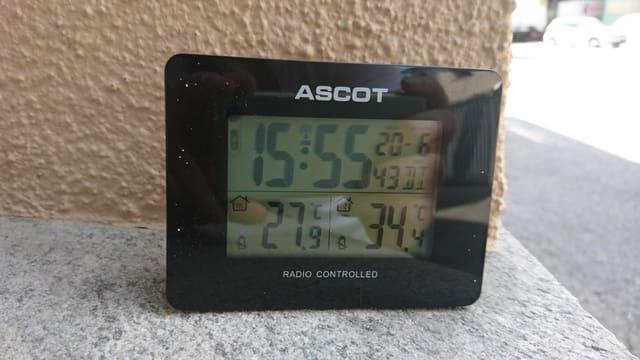 Purtret d'in termometer che mussa 34 grads.