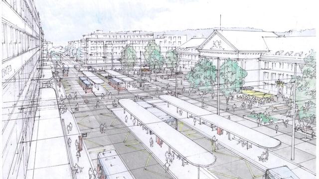 Der künftige Bieler Bahnhofplatz: übersichtlich angeordnete Bushaltestellen.