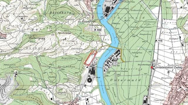 Kartenausschnitt mit eingezeichnetem Standort für Oberflächenanlage