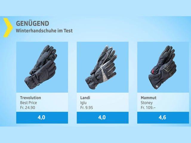 Drei Handschuhe die mit genügend abgeschlossen haben
