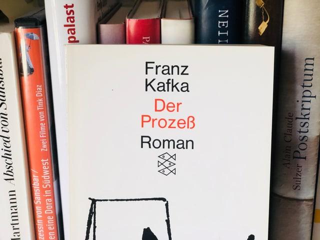 Zwei Bücher auf einem Regal. Das eine ist  «Der Prozess» von Franz Kafka. Das andere «Extrem laut und unglaublich nah» von Jonathan Safran Foer.