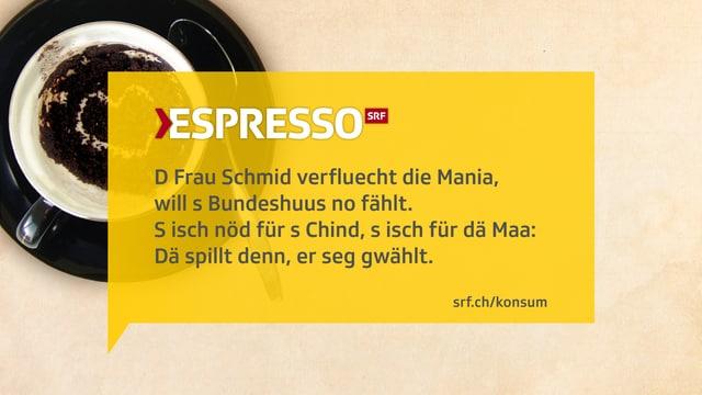 Texttafel: Kafisatz zur Sammelaktion Suisse Mania von Migros.