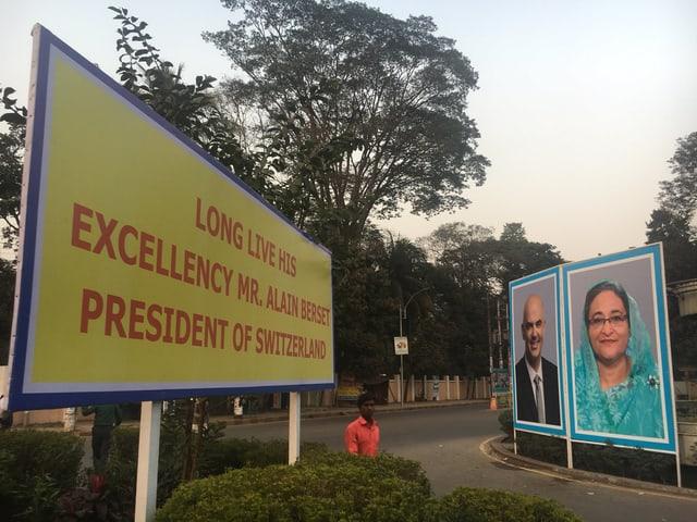 Plakate mit Willkommensgrüssen und einem Foto von Bundespräsident Alain Berset säumen Strassen in Dhaka, der Hauptstadt Bangladeschs. (srf)