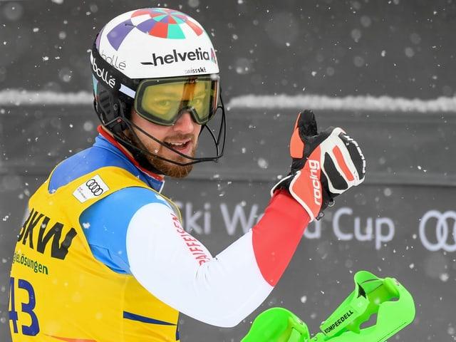 Luca Aerni kämpft um einen WM-Platz im Slalom.