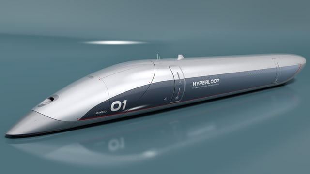 Ein Modell einer Hyperloop-Kapsel.