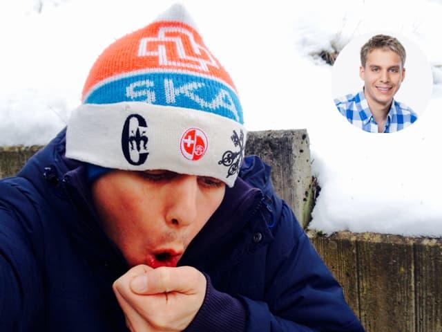 Reto Scherrer mit der legendären «SKA»-Kappe bläst sich die Hände warm.