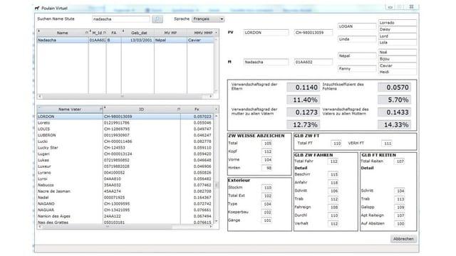 Screenshot des Zucht-Tools