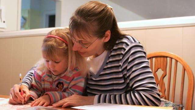 Frau lernt mit Mädchen an Tisch.